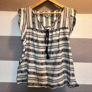 LOFT- blue heritage cotton linen top L
